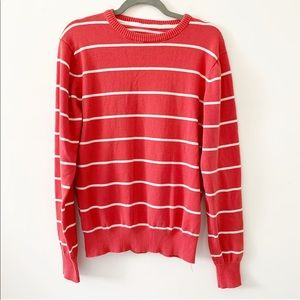 Label Of Graded Goods coral white striped crewneck